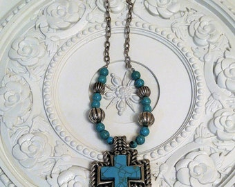 vintage TORQUOISE cross necklace fresh Estate sale Item beads jewelry Mexican Mexico
