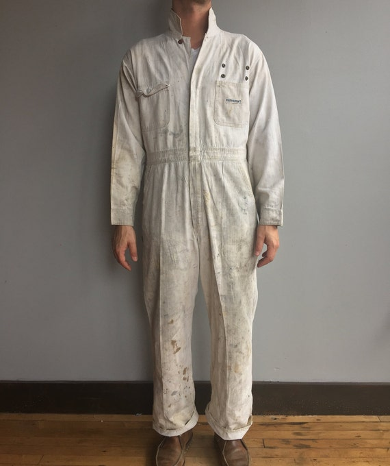 White Powr House Montgomery Ward Jumpsuit Coverall Mechanic Sanforized with stylized staining 42 R
