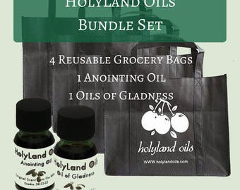 HolyLand Oil Bundle Set-Anointing Oil+Oil of Gladness+Reusable Shopping Bag