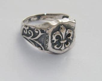 Handcrafted Unique .925 Sterling Silver  Fleur De Lis Men's Ring-Custom Size