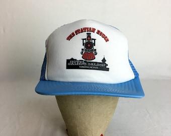 Vintage 80s The Station House - Hotel Gaming Saloon - Tonopah, Nevada Snap-Back Trucker Hat // 1980s // Cap // Snapback // Train
