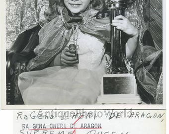 Girl beauty queen with trophy vintage photo