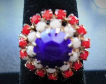 Red White and Blue Ring Adjustable