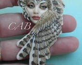 """CABOCHON """"Lilith"""" Owl Shapeshifter Porcelain by Laura Mears"""