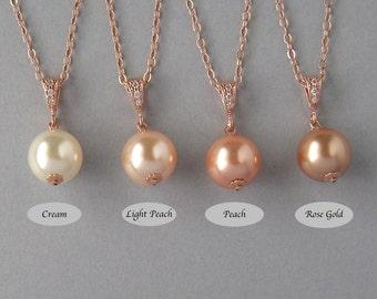 Genuine Swarovski, Bridal Jewelry,Cream, Peach,Rose Gold, Swarovski Pearls, Rose Gold Plated, Gold Filled, Necklace, Bridesmaid Gift - DK828
