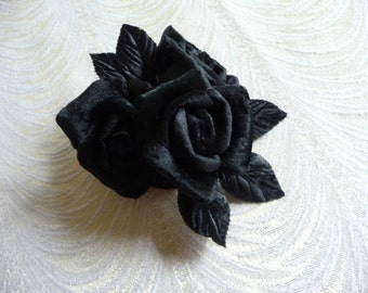 Black Velvet Roses with Millinery Leaves Cluster of 3 for Gown Brooch Corsage Sash Hats