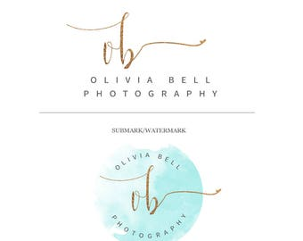 Feminine Branding Package, Gold Foil Logo, Elegant Signature, Turquoise Watercolor Logo, Signature Stamp Logo, Gold Foil Watercolor Branding