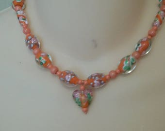 Peach colored glass bead necklace