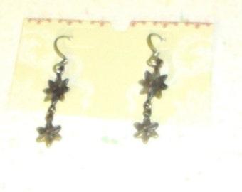 Silver Daisy Dangle Ear Wires Unmarked Fish Hook Earrings Vintage