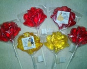 1 dz Hard Candy Rose Bloom Shaped Lollipop Wedding Favors w/ Personalized Back Labels, Beauty & The Beast, Belle, Cabbage Patch
