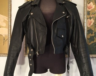 1950s Style Cropped Leather Motorcycle Jacket by Wilson's Leather, Size Medium -- Such a Classic Style!