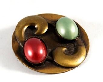 Rare Hedy Hill Brooch Pendant- Bronze Copper Pin - Statement - Modernist - Lucite Cabochon - Organic Mid Century - 1960's