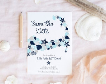 Printable Cape Cod Massachusetts Save the Date Wedding with Blue Shells