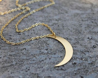 Gold Crescent Moon Necklace // 16K Gold // Moon Necklace // Layering Necklace // Minimal Necklace // Boho Necklace // Half Moon