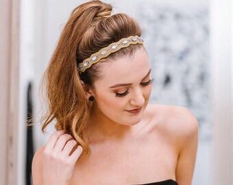 Beaded Headband - Hair Jewelry - Crystal headband - Boho Headband - Adjustable Headband - Bridal Hair Accessory - Hat Bands - Photo Props -