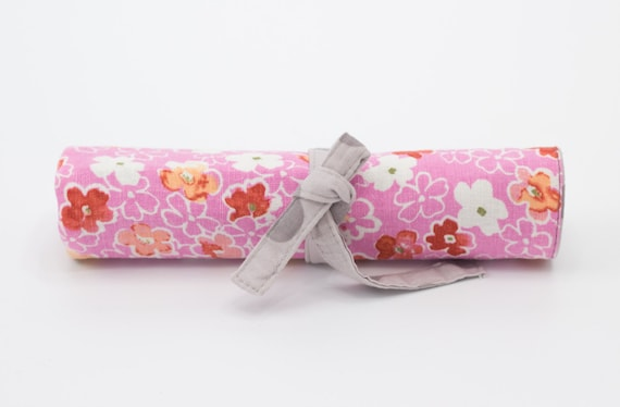Pink Floral Colored Pencil Roll, Pencil Holder, Gray Polka Dots, Pink, Red, Gray, and White Cotton Fabrics, Handmade