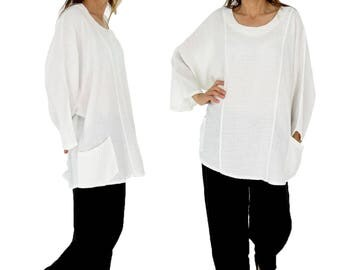 IA900W ladies tunic blouse linen vintage size 46 48 50 52 portable white