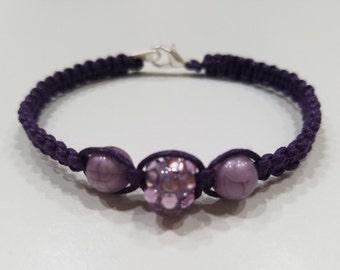 Purple Macrame Bracelet with Purple Beads
