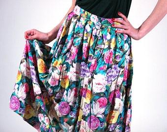 Vintage floral midi skirt, women skirt, women summer skirt, vintage skirt, midi skirt, romantic skirt, size S / M , 36 / 38 (GP85)