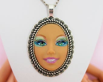 Glitter Festival Large Barbie Doll Face Necklace | Dollfaced
