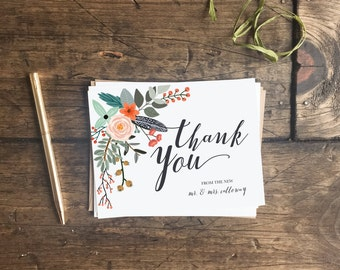 Wedding Thank You Cards. Customized Wedding Floral Thank You Cards. Rustic Wedding Stationery. Rustic Thank You Cards. Wedding Gift.