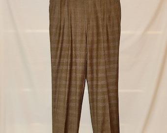 Sz 18 or 36 Plaid Wool Menswear Pants - Brown - Tailored - Plus  Size 1X 2X - Tall - Pleat Front - High Waist - Professional