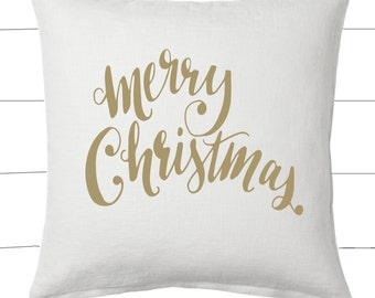 Gold and White Merry Christmas Pillow and Insert Christmas Decoration Christmas Saying Holiday Pillow Red White Christmas