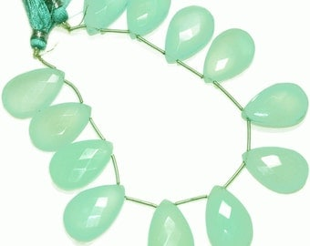 Extra large aqua chaldedony faceted briolettes.  Approx. 16x25mm.   Select a quantity.