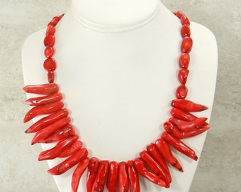 Red Coral Necklace, Handmade Statement Necklace, Coral Gemstone Necklace, Bead Necklace, RedGemstone Jewelry Set w/earrings