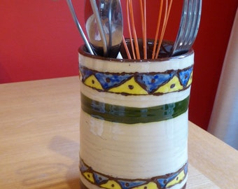 Dark Terracotta Earthenware Ceramic Utensil Jar
