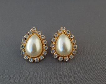 Vintage Rhinestone Pearl Teardrop Earrings, White Faux Pearl Crystal Earrings, Classic Elegant Pierced Earrings, Bridal Wedding Earrings