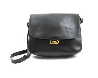 1970s black leather purse • distressed leather bag • leather shoulder bag • black pocket book