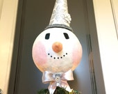 Snowman Christmas tree topper Handmade Glittered Retro style Snowman Head Silver White Snowflake Holiday Tree Top Topper