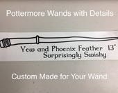 Pottermore Style Wands Vinyl Decal with Wand Description