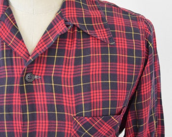 Vintage 1950s Red Plaid Loop Collar Shirt by Wilson Brothers Size Small/Medium