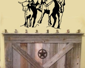 Horse, Steer Wrestling Decal, Rodeo Decal, Cowyboy Decal, Western Decal, Cowboy Sticker, Vinyl wall decal, Boys Room, Teen Room, Ranch Decor