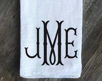Farmhouse Monogrammed Flour Sack Tea Towel Kitchen Towel,Personalized Kitchen towel,Tea Towel,Flour Sack Towel,Wedding, Fishtail Monogram
