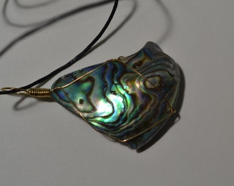 Abalone Shell Wire Wrapped Pendant