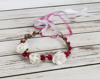 Handcrafted Hot Pink and White Flower Crown - Birthday Hair Accessory - Wedding Hair Wreath - Renaissance Flower Crown - Toddler Flower Halo