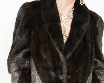 Beautiful Brown Mink Fur Jacket Coat Leather detail Excellent Condtion Sz Medium