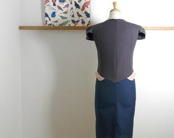 Size S - Suit Patch Dress in Peach, Mauve & Denim Blue