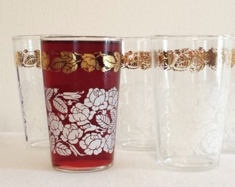 Vintage Drinking Glasses White Rose Five Juice Glasses Small Tumblers Gold White Mid Century