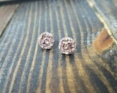 Rose Gold Faux Druzy Stud Earrings - 12mm