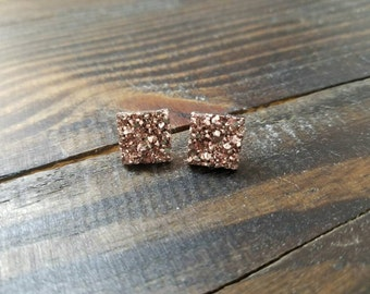 Rose Gold Square Chunky Faux Druzy Stud Earrings - 12mmx12mm