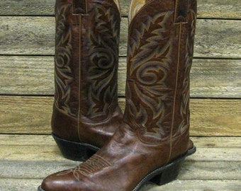 Justin Ladies 9B Chestnut Brown Marbled Leather Cowgirl Western Boots