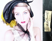 1930s Vintage Hat / Hattie Carnegie / Designer Hat / Sculpted Art Deco / Chartreuse Feathers