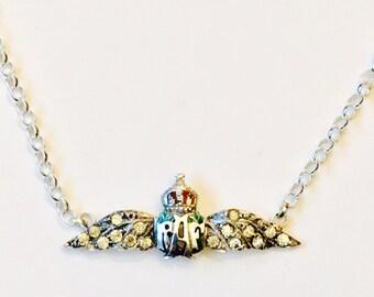 Vintage Sterling Silver Enamelled RAF Wings Sweetheart Necklace
