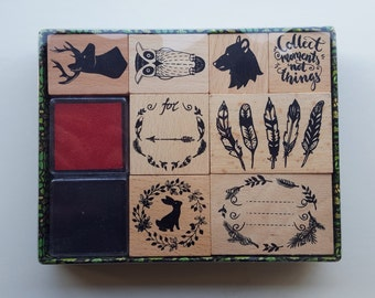Wooden Rubber Stamps - Stamps Set in Box - Deer Owl Quote Bear Feathers