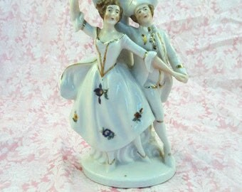 Vintage Victorian .Couple Statue with Bud Vase Germany US Zone Vintage Old Fashioned Dancing Couple Figurine Bud Vase