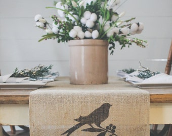 Burlap Table Runner, Table Runner, Bird Table Runner, Perched Bird, Farmhouse Table Runner * Free Shipping*